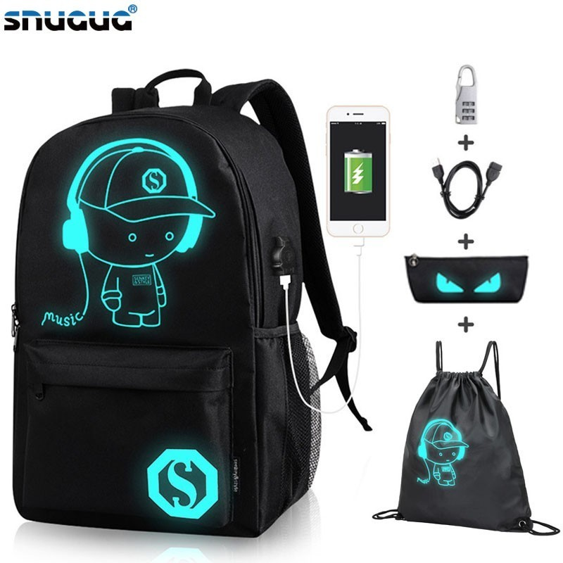 Oxford School Backpack Usb-Charging-Port Shoulder Black Anime Luminous with And Lock