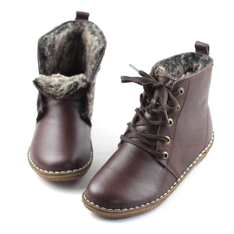 Women's Shoes  Winter Fur Boots Genuine Leather Ladies Ankle Boots Round toe Lace up Female Footwear (500680-5) 1 6 scale female head shape for 12 action figure doll accessories doll head carved not include body clothes and other km15
