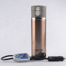 Tea Water Coffee Heater DC 12V Stainless Steel Travel Cup Car Heated Cup Thermos Travel Mug Hot New Car Styling Free shipping