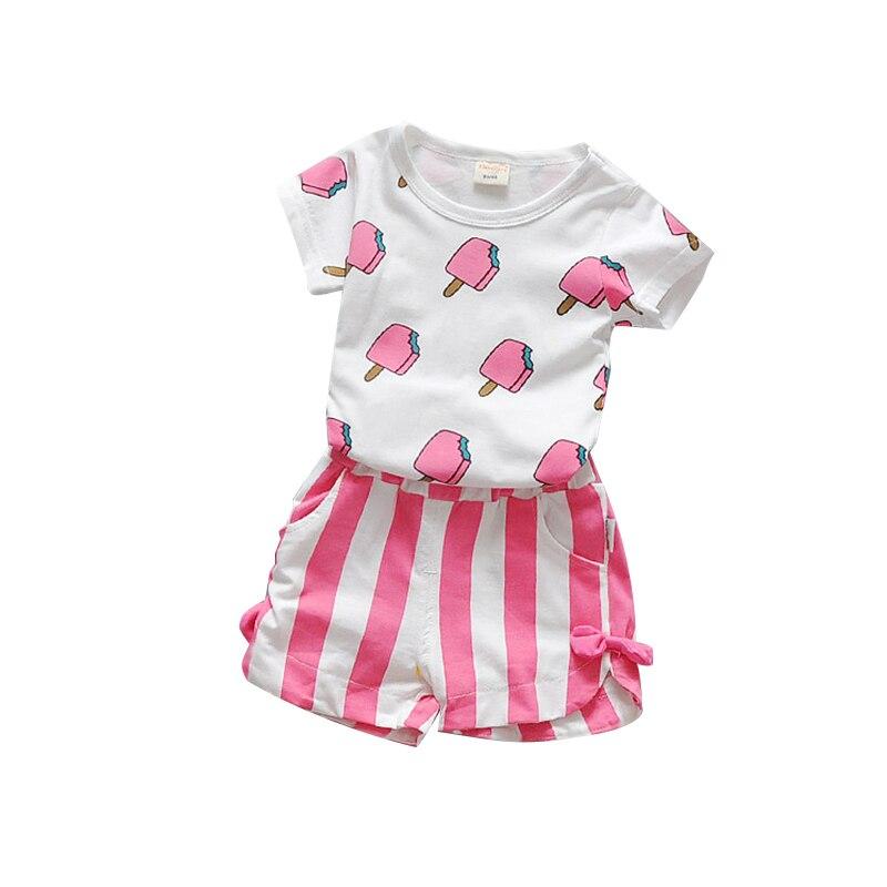 9e0481637 Summer Baby Girls Clothes Set 100% Cotton Ice Cream T shirts + ...