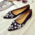 Fashion Spring 2017 Pointed Toe Flat Heel Rhinestone Velvet Fashion Flats Young Lady Boat Shoes