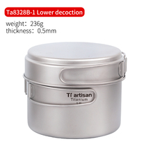 цена на Tiartisan Pure titanium1.6L pot set folding portable cooking Pot and multi-function outdoor camping Cookware Ta8318TI