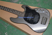 Custom made 4 stringed electric bass guitar with mirror closed silvery powder finish