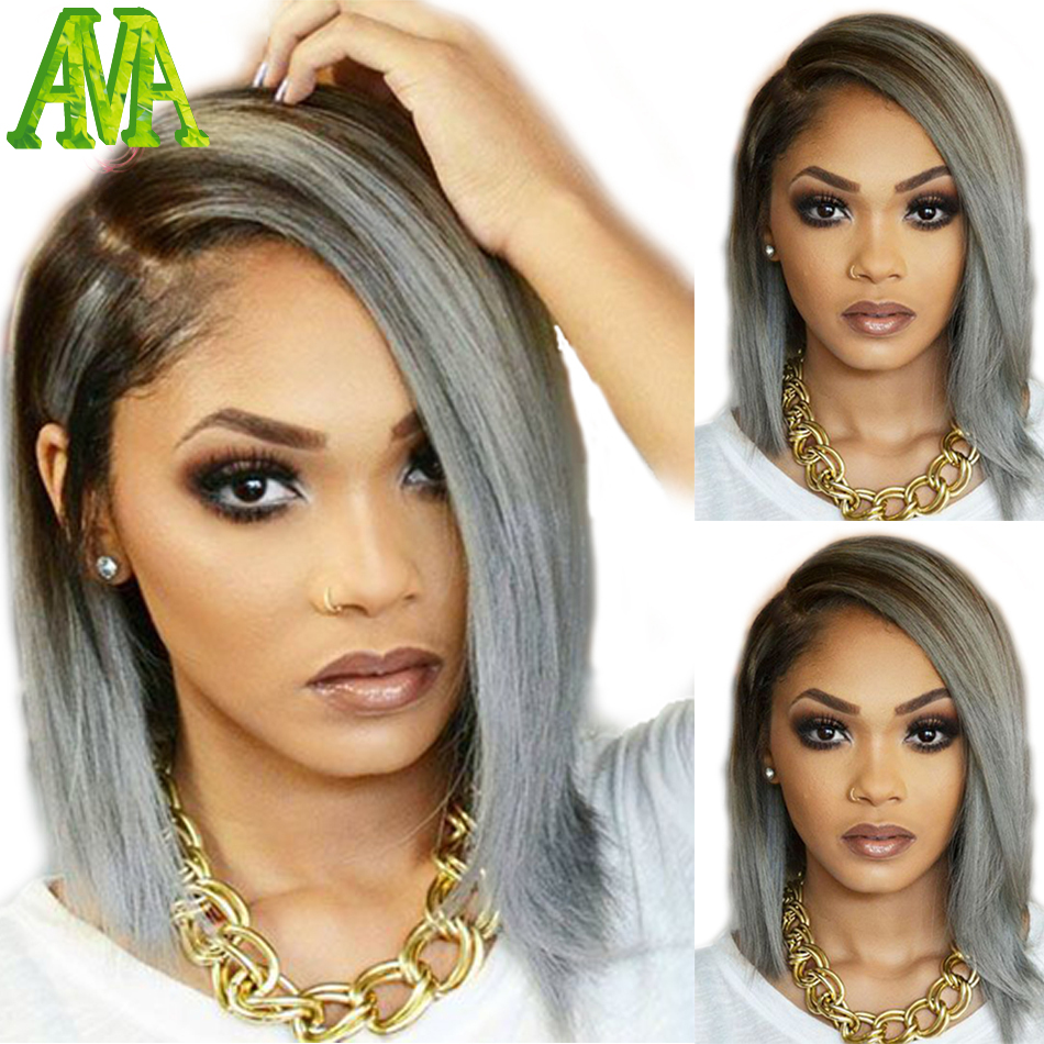 Bob Lace Front Ombre 1btgray Human Hair Wigs 7a Best
