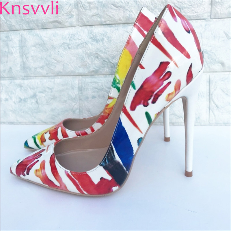 White Patent Leather Graffiti Sexy High Heels Women Shoes Pointy Toe Fashion Shallow Printing Extreme High Heels Women Pumps делай с мамой роспись по холсту пет шоп littlest pet shop