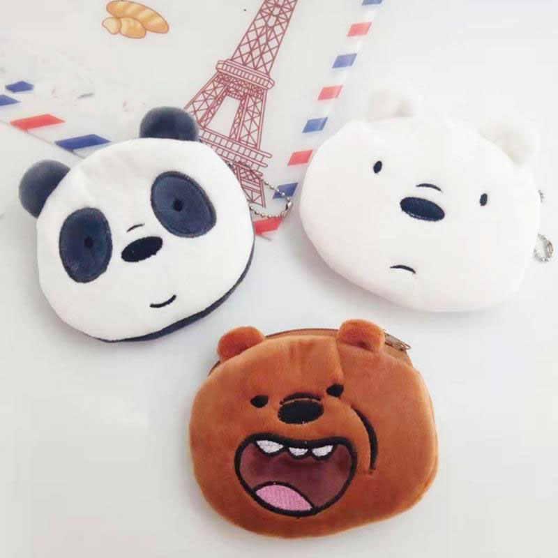 Faithful 1 Pc 2019 New Cute Three Bare Bear Coin Purse Three Bear Doll Plush Bag Women Purse Bear Plush Purses Toy Mini Wallet