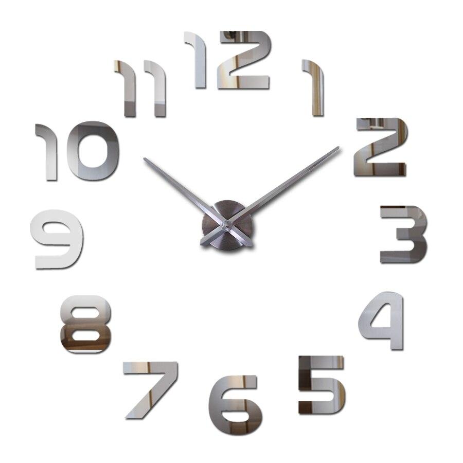 Moderne diy acrylique miroir de mode horloge murale 3d big quartz horloges salon maison décoration encore vie argent autocollants