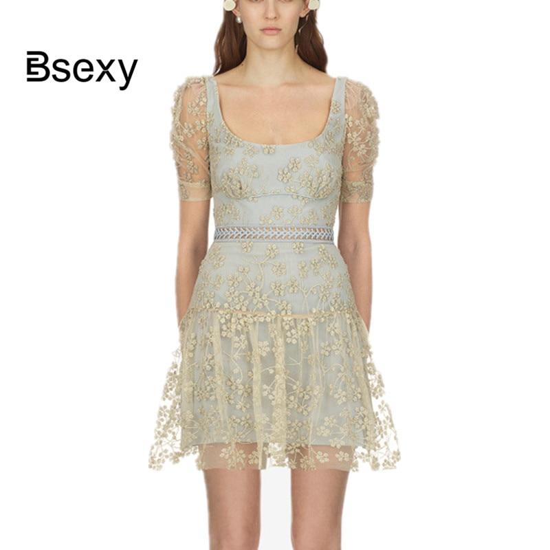 summer dress 2018 Self Portrait Sexy Big Round Neck Embroidery Golden Floral Dress Women Short Sleeve A line Mini Party Dress
