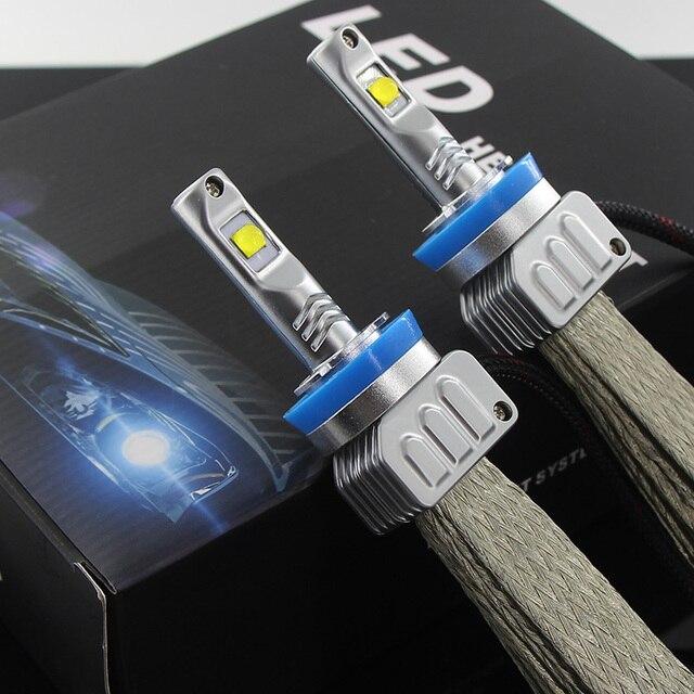 2X 9000LM H7 LED Far Kiti XHP50 Cips Fanless SÜPER Beyaz Sürüş Far H4 H8 H11 H16 (JP) 9005 9006 H10 9012