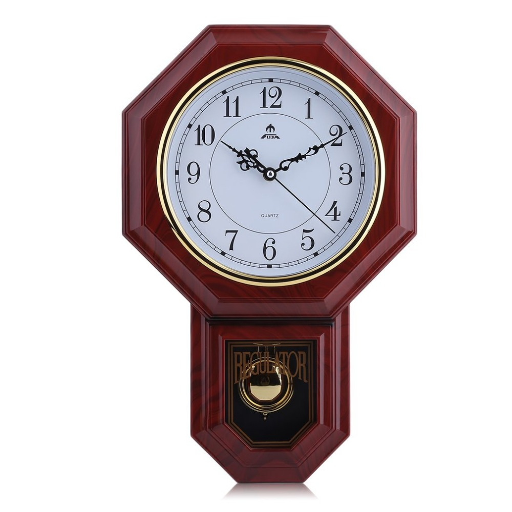 Faux Wood Chime Wall Clock With Pendulum Home Office Schoolhouse Decoration Chinese Style Classic Round