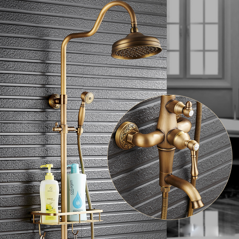 Wall Mount Rainfall 8 Shower Faucet Complete Set Single Handle with Handshower Antique Brass Bathroom Shower Mixer Tap wall mount single handle bath shower faucet with handshower antique brass bathroom shower mixer tap