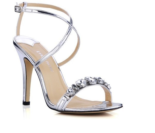 2016 New Luxury Fashion High heels sandals Women's bride Wedding Shoes sandals pumps Shining silver diamond Cross thin belt new pink red rhinestone diamond bride s shoes super high heels crystal bowl wedding shoes elegant sandals female pumps feminina