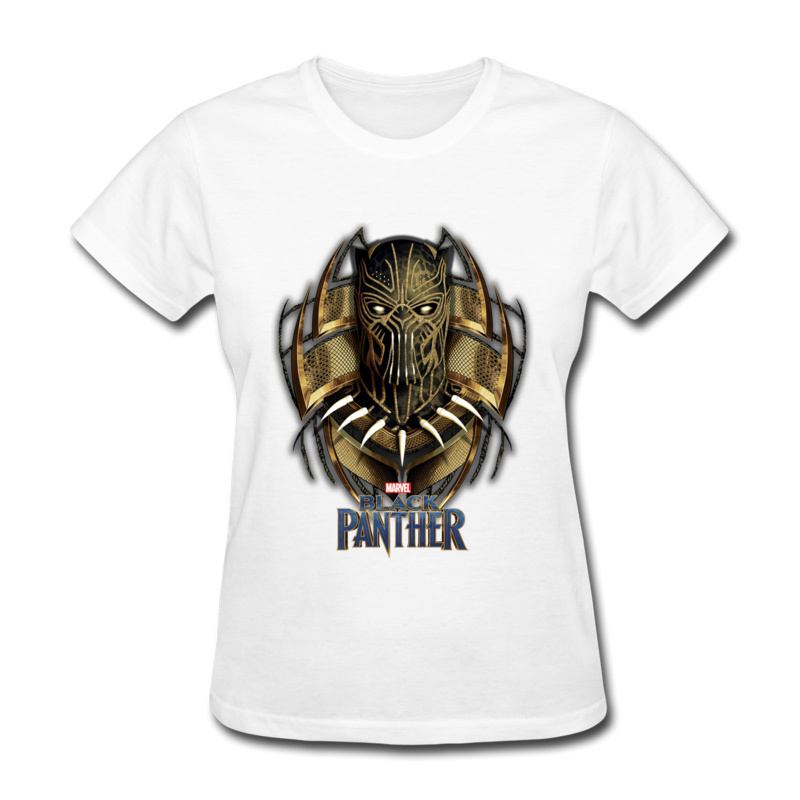 White Pink Tops Women Printed Tshirt Korean Clothes New Fashion Summer T Shirts For Lady Round Collar Black Panther Tee Shirt