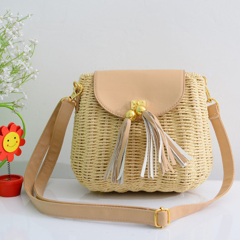New Women Tassel Straw Bags Bohemian Female Vintage Rattan Knitted Handbag Summer Beach Lady Casual Weave Shoulder Bag SS3161 (6)
