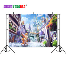 SHENGYONGBAO Art Cloth Backdrops for Photography cloth My Little Pony Castle fairy tale Photo Studio Background 80510-36