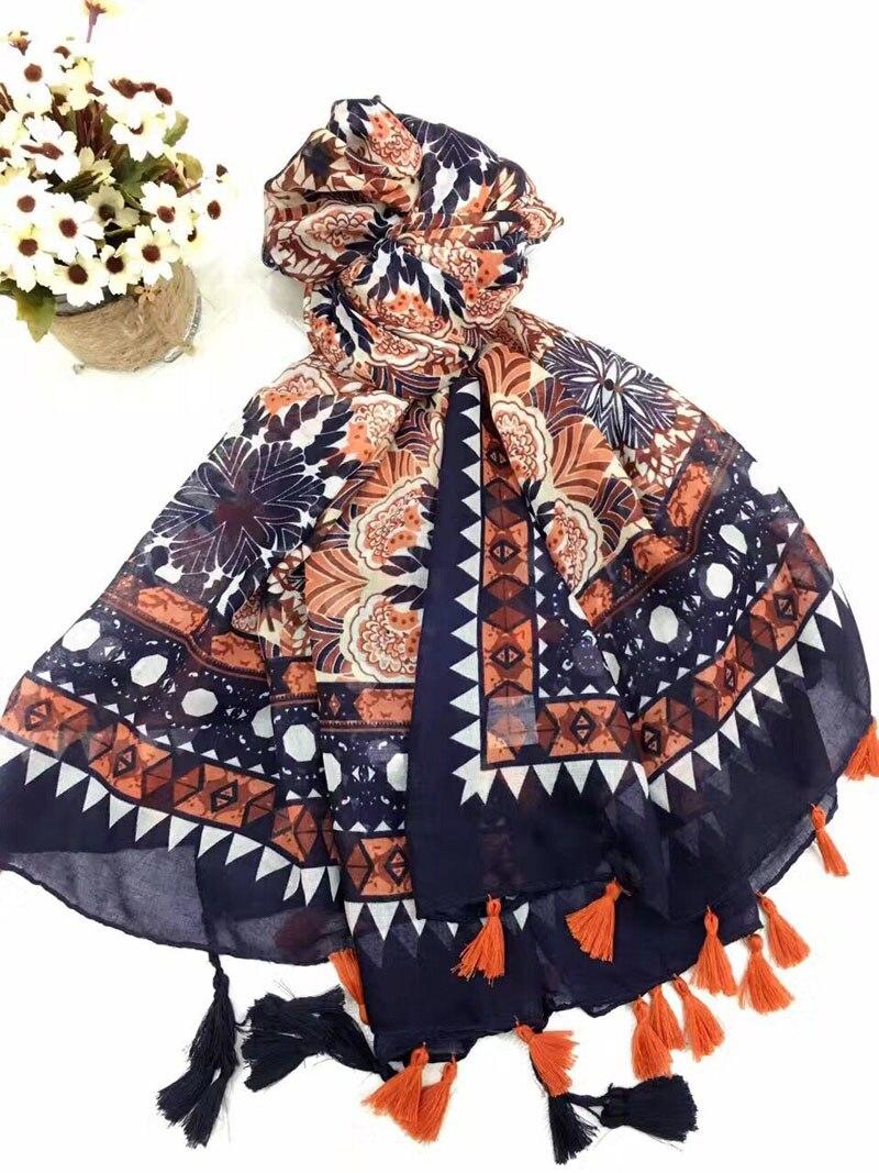 Scarves 2017 floral hijab Muslim hijab shawls wraps muffler flower print scarf british style shawls and