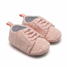 hot deal buy new born baby girl shoes pink knit lace-up rubber sole shoes prewalkers toddler kids sneakers boys shoes bebek patik 0-18months