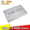 2015 New Arrive 3.5 Inch USB 2.0 SATA External HDD Hard Disk Drive Case Cover External Storage Enclosure Box Silver Color