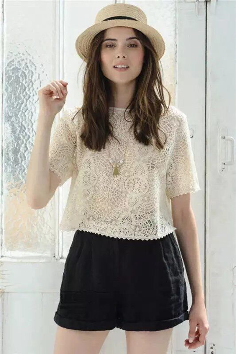 Women Half Sleeve Lace   Blouse     Shirt   Backless Hollow Out Top