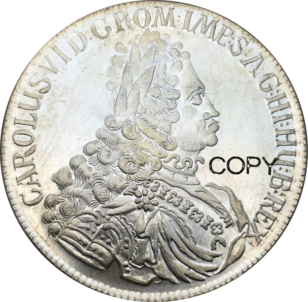 Austria Charles VI Holy Roman Emperor 1 Thaler 1724 Cupronickel Plated Silver Copy Coins Optional Different years image
