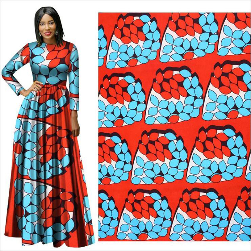 Me-dusa 2019 blue flower African Print Wax Fabric 100% Polyester Hollandais Wax DIY Dress Suit cloth 6yards/lot high quality(China)