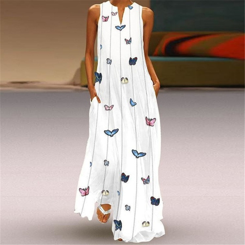 S-5XL Butterfly Print Maxi <font><b>Dress</b></font> Women Casual Sleeveless Long <font><b>Dress</b></font> Summer Pocket Elegant White Holiday Beach <font><b>Dresses</b></font> Plus Size image