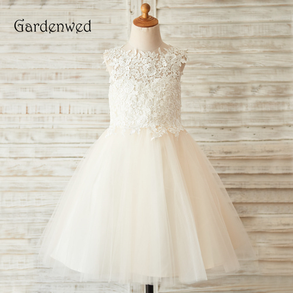 Gardenwed Beige Tulle A Line Top Appliques Lace Keyhole Back Sleeveless Flower Girl Dress 2019 Cheap First Comunion Dress Child