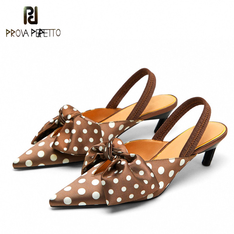 Prova Perfetto Sweet Polka Dot Slingback Women Sandals Kitten Heel Pointed Toe Pumps Shoes Woman Bowknot Thin High Heels Sandals цены онлайн