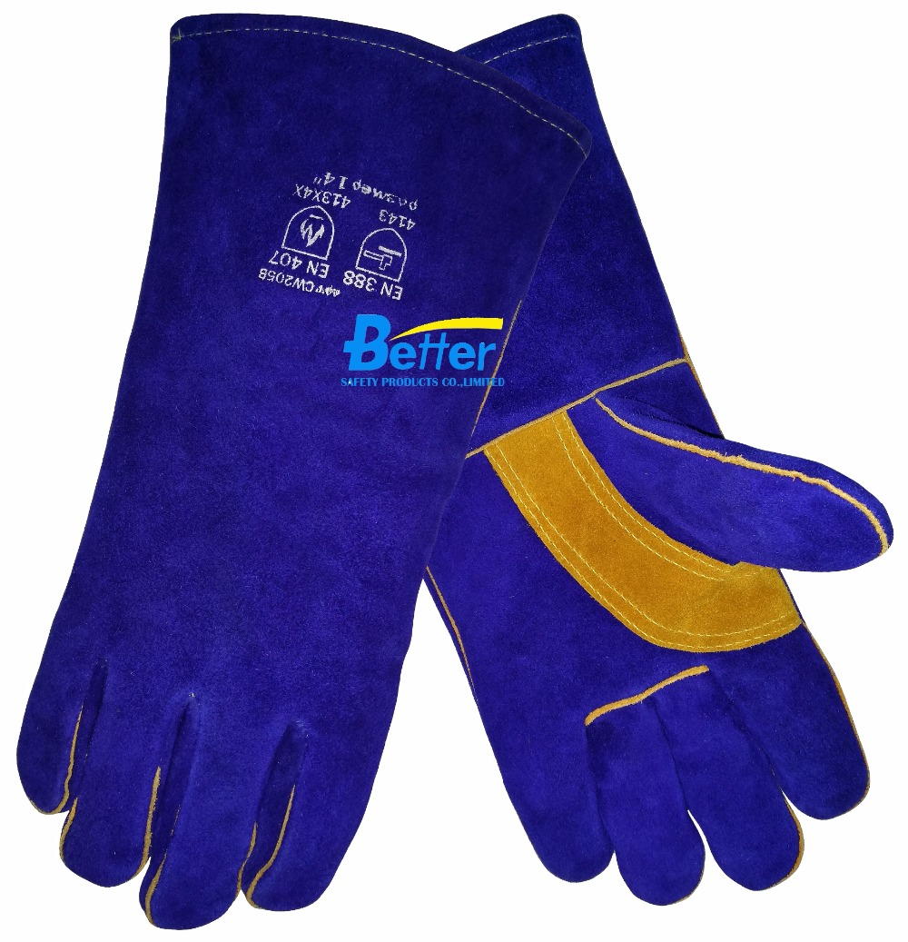 Leather work gloves for welding - 14 Inch Split Cow Leather Welding Work Glove China Mainland
