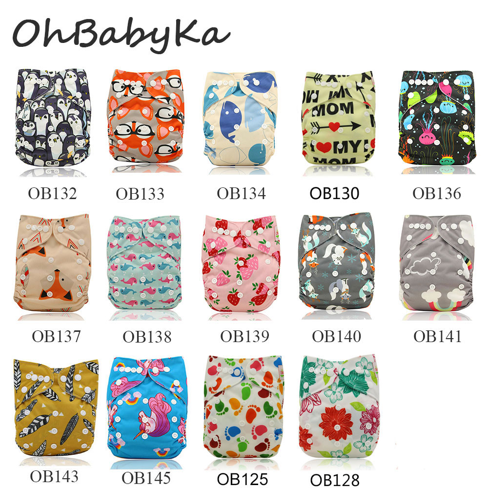 Ohbabyka Baby Cloth Diapers Character Print Waterproof  Snaps Adjustable Baby Nappy Changing Baby Shower Pocket Diaper 10Pcs/lot