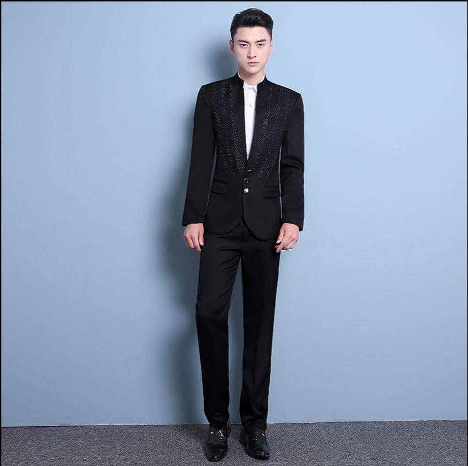Men\'s New host stage singer costumes Paillette stand collar suits ...