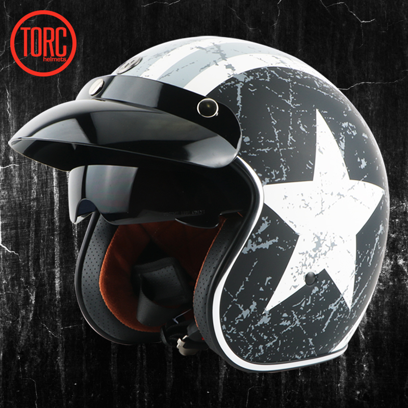 torc motorcycle vespa helmet vintage open face 3 4 helmet inner visor motocross jet retro. Black Bedroom Furniture Sets. Home Design Ideas