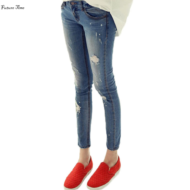 Autumn Women Hole Ripped Jeans push up Bleached Washed pencil pants boyfriend sexy slim skinny jeans stretch plus size C1420