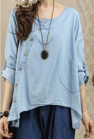 f19c196d152 Summer Asymmetric Cut Slant Buttons Women Sky Blue Cotton Denim Blouse
