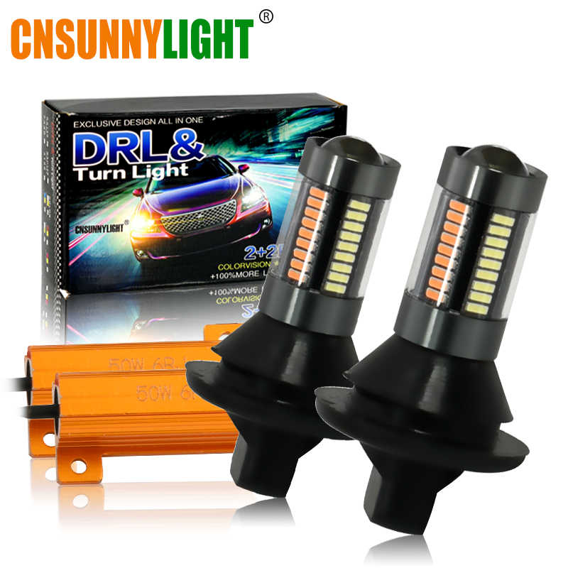 CNSUNNYLIGHT Car 1156 BA15S BAU15S 66SMD LED Turn Signal Light Amber Canbus T20 7440 Lamp Bulbs 12V DRL Day Running Lights White