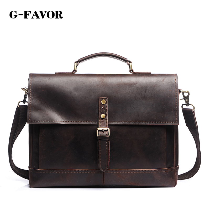 G-FAVOR Genuine Leather Men Bag Shoulder Crossbody Bag Business Men's Briefcase Laptop Bag 16 Handbag Messenger Bags Leather Men genuine leather men bags messenger bag leather man shoulder crossbody mens bag business laptop briefcase men handbag laptop bags