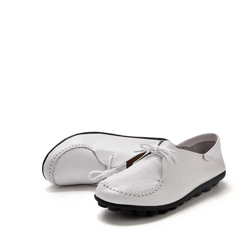 2019 Lente Vrouwen Oxfords Schoenen Casual Vrouwen Flats Schoenen Echt Leer Lace Up Mocassins Loafers Slip Op Ballet Flats
