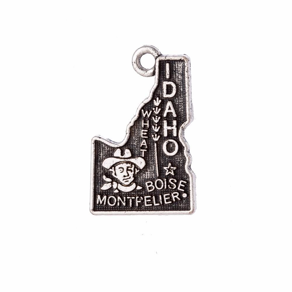 608d3b2e5567 Mi forma 14 22mm Idaho estado mapa encanto colgante Estilo Vintage joyería  pulsera que hacía 60 unids lote