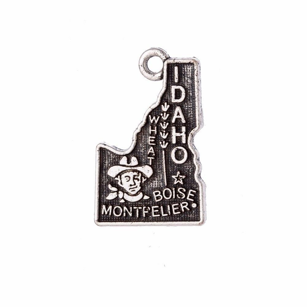 my shape 14*22mm Idaho State Map Charm Pendant Vintage Style Jewelry Fit Bracelet Making 60Pcs/Lot