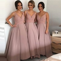 2017 Newest Long Bridesmaid Dresses Beading V Neck Long Bridesmaids Gowns High Quality Wedding Party Dresses