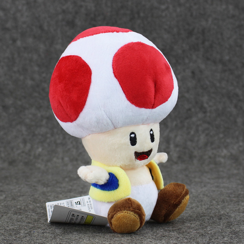 1pcs 7'' 17cmCute Super Mario Bros Plush Toys Mushroom Toad Soft Stuffed Plush Doll with Sucker Baby Toy For Kids 2