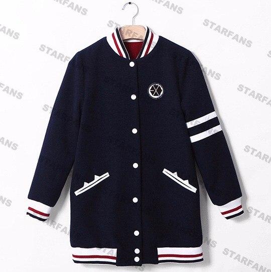 Exo con capucha kpop EXO capa chaqueta EXO kai camiseta del lobo EXO kris ropa escudo Baseball uniforme sweats capuches