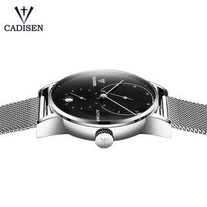 Image 5 - Cadisen relógio masculino de aço completo automático auto vento relógio mecânico de reserva de energia moda casual malha banda wristwathes