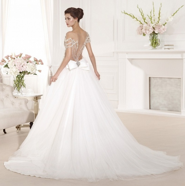 Bling Bridal Gowns Tulle Peals White Sexy Backless Wedding Dresses ...