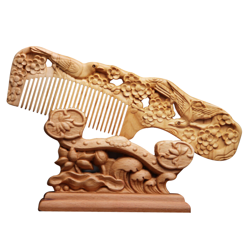 Pc chinese wooden comb natural peach wood carving