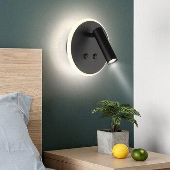 Thrisdar kreatywny podświetlany nocna lampka do czytania światła na ścianie z podwójnym przełącznik Hotel korytarz oświetlenie schodów do czytania światło punktowe