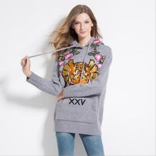 New 2017 High Women Ladies Cute Autumn Winter Luxury embroidery Tiger Rose Casual Sweaters Pullover High quality #E174