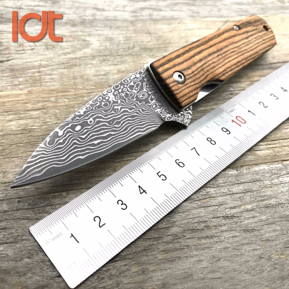 LDT Moscow Folding Knife Damascus Blade Rose wood Handle Survival Camping Outdoor Knife Pocket Hunting Tactical Knife EDC Tools new browning damascus steel knife outdoor mini damascus pocket knife