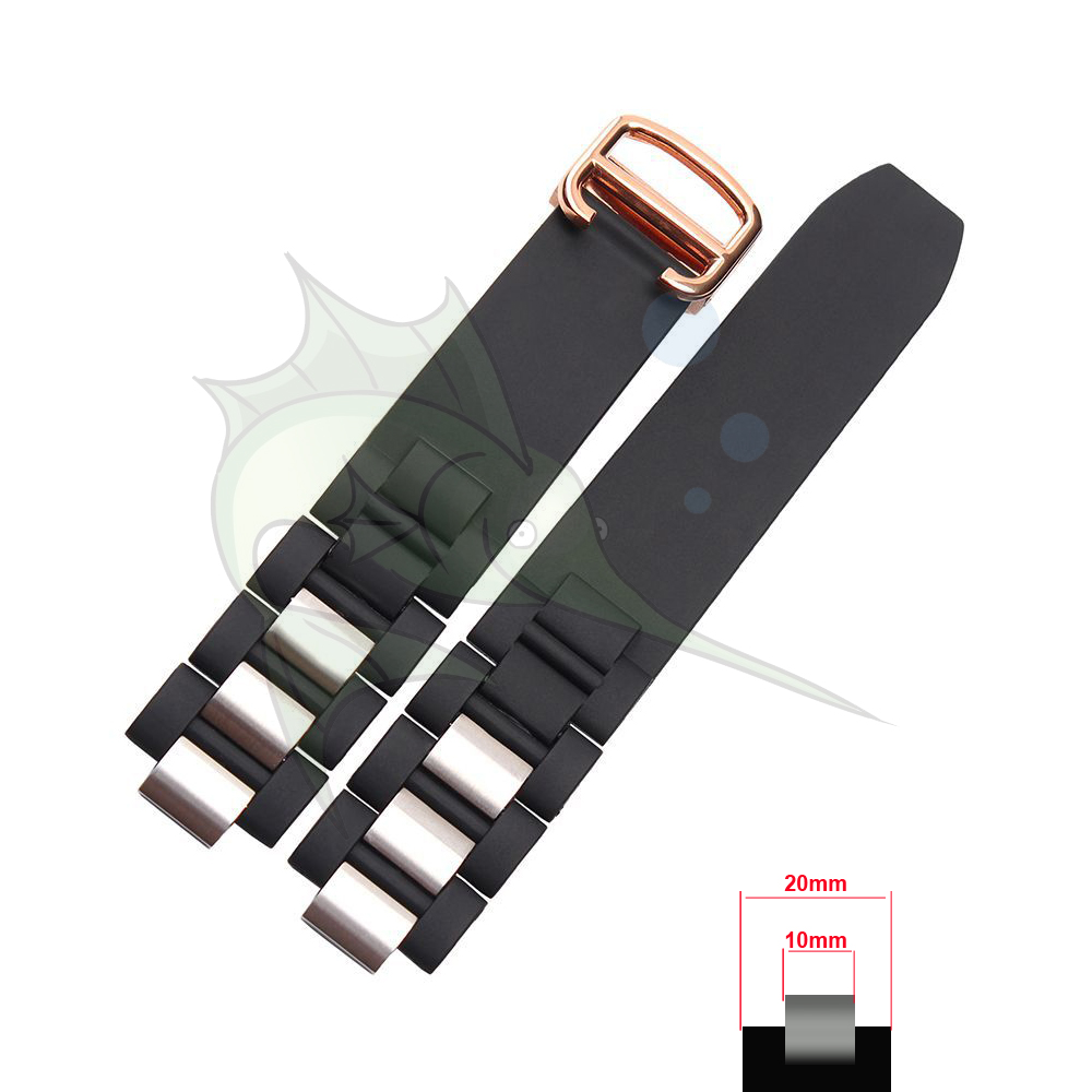 Quality 20mm X10mm Rubber Watchband Watch Strap Wristband for Cartier 21 Chronograph Watch Black / White Rubber Watch Strap