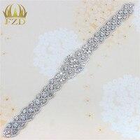 (1 stuk) handgemaakte Bling Naaien Hotfix Kralen Crystal Zilveren Strass Applique voor Bridal Trouwjurk Riem Hoofdbanden Kousenband